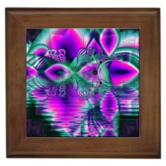 Teal Violet Crystal Palace, Abstract Cosmic Heart Framed Ceramic Tile