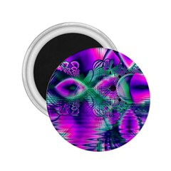 Teal Violet Crystal Palace, Abstract Cosmic Heart 2.25  Button Magnet