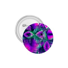 Teal Violet Crystal Palace, Abstract Cosmic Heart 1.75  Button