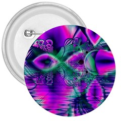 Teal Violet Crystal Palace, Abstract Cosmic Heart 3  Button