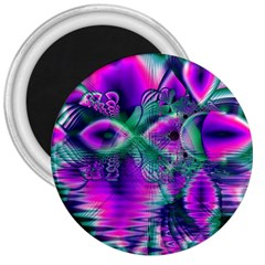 Teal Violet Crystal Palace, Abstract Cosmic Heart 3  Button Magnet