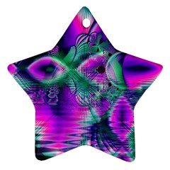 Teal Violet Crystal Palace, Abstract Cosmic Heart Star Ornament