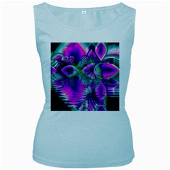 Teal Violet Crystal Palace, Abstract Cosmic Heart Women s Tank Top (Baby Blue)