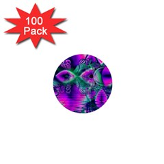 Teal Violet Crystal Palace, Abstract Cosmic Heart 1  Mini Button (100 pack)