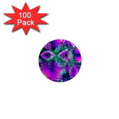 Teal Violet Crystal Palace, Abstract Cosmic Heart 1  Mini Button Magnet (100 pack)