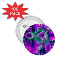 Teal Violet Crystal Palace, Abstract Cosmic Heart 1 75  Button (100 Pack)