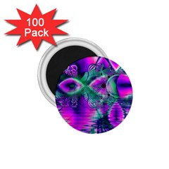 Teal Violet Crystal Palace, Abstract Cosmic Heart 1 75  Button Magnet (100 Pack)