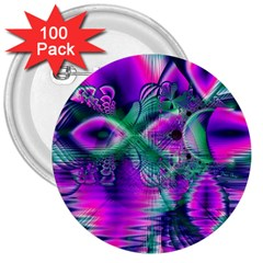 Teal Violet Crystal Palace, Abstract Cosmic Heart 3  Button (100 Pack)