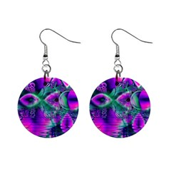 Teal Violet Crystal Palace, Abstract Cosmic Heart Mini Button Earrings