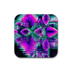 Teal Violet Crystal Palace, Abstract Cosmic Heart Drink Coaster (Square)