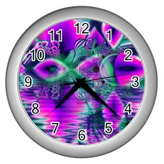Teal Violet Crystal Palace, Abstract Cosmic Heart Wall Clock (silver)