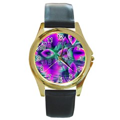Teal Violet Crystal Palace, Abstract Cosmic Heart Round Leather Watch (Gold Rim)