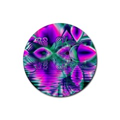Teal Violet Crystal Palace, Abstract Cosmic Heart Drink Coaster (Round)