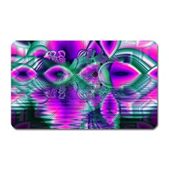 Teal Violet Crystal Palace, Abstract Cosmic Heart Magnet (Rectangular)