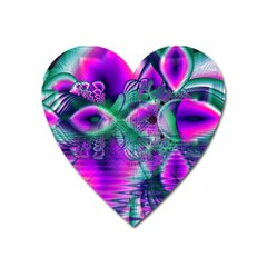 Teal Violet Crystal Palace, Abstract Cosmic Heart Magnet (heart)