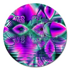 Teal Violet Crystal Palace, Abstract Cosmic Heart Magnet 5  (round)