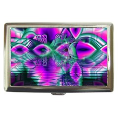 Teal Violet Crystal Palace, Abstract Cosmic Heart Cigarette Money Case