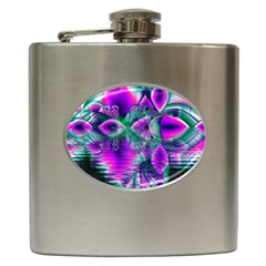 Teal Violet Crystal Palace, Abstract Cosmic Heart Hip Flask
