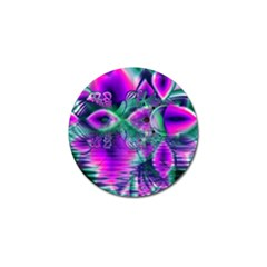 Teal Violet Crystal Palace, Abstract Cosmic Heart Golf Ball Marker