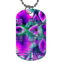 Teal Violet Crystal Palace, Abstract Cosmic Heart Dog Tag (two Sided)