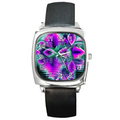 Teal Violet Crystal Palace, Abstract Cosmic Heart Square Leather Watch