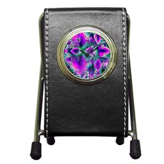 Teal Violet Crystal Palace, Abstract Cosmic Heart Stationery Holder Clock