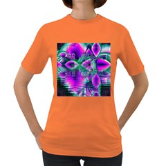 Teal Violet Crystal Palace, Abstract Cosmic Heart Women s T-shirt (Colored)