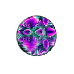 Teal Violet Crystal Palace, Abstract Cosmic Heart Golf Ball Marker (for Hat Clip)