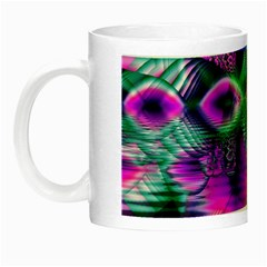 Teal Violet Crystal Palace, Abstract Cosmic Heart Glow in the Dark Mug