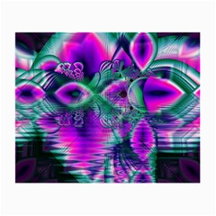 Teal Violet Crystal Palace, Abstract Cosmic Heart Glasses Cloth (small)