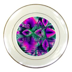 Teal Violet Crystal Palace, Abstract Cosmic Heart Porcelain Display Plate