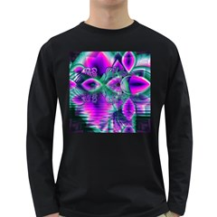 Teal Violet Crystal Palace, Abstract Cosmic Heart Men s Long Sleeve T-shirt (Dark Colored)