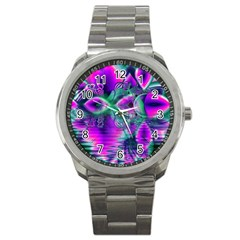Teal Violet Crystal Palace, Abstract Cosmic Heart Sport Metal Watch