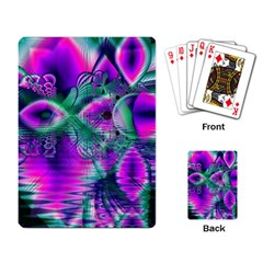 Teal Violet Crystal Palace, Abstract Cosmic Heart Playing Cards Single Design