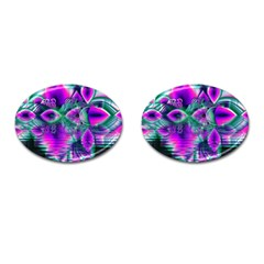 Teal Violet Crystal Palace, Abstract Cosmic Heart Cufflinks (Oval)