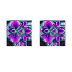 Teal Violet Crystal Palace, Abstract Cosmic Heart Cufflinks (Square)