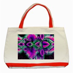 Teal Violet Crystal Palace, Abstract Cosmic Heart Classic Tote Bag (Red)