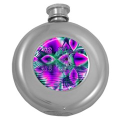 Teal Violet Crystal Palace, Abstract Cosmic Heart Hip Flask (Round)