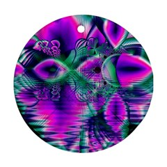 Teal Violet Crystal Palace, Abstract Cosmic Heart Round Ornament (Two Sides)