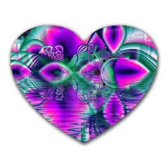 Teal Violet Crystal Palace, Abstract Cosmic Heart Mouse Pad (Heart)