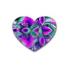 Teal Violet Crystal Palace, Abstract Cosmic Heart Drink Coasters (heart)