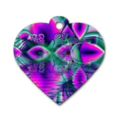 Teal Violet Crystal Palace, Abstract Cosmic Heart Dog Tag Heart (One Sided)