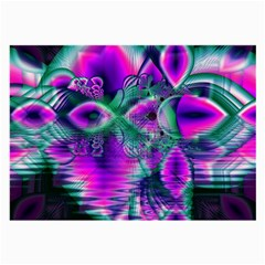 Teal Violet Crystal Palace, Abstract Cosmic Heart Glasses Cloth (large, Two Sided)
