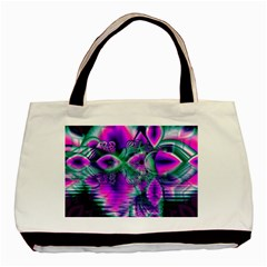 Teal Violet Crystal Palace, Abstract Cosmic Heart Twin-sided Black Tote Bag