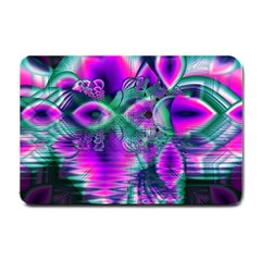 Teal Violet Crystal Palace, Abstract Cosmic Heart Small Door Mat
