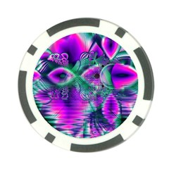 Teal Violet Crystal Palace, Abstract Cosmic Heart Poker Chip