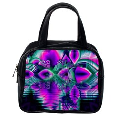 Teal Violet Crystal Palace, Abstract Cosmic Heart Classic Handbag (One Side)