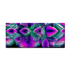 Teal Violet Crystal Palace, Abstract Cosmic Heart Hand Towel