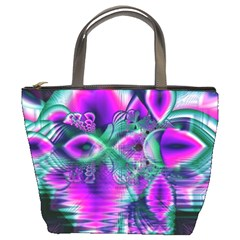Teal Violet Crystal Palace, Abstract Cosmic Heart Bucket Handbag