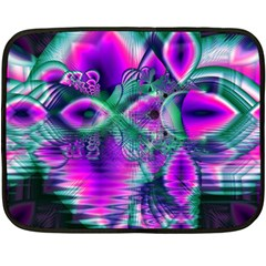 Teal Violet Crystal Palace, Abstract Cosmic Heart Mini Fleece Blanket (Two Sided)
